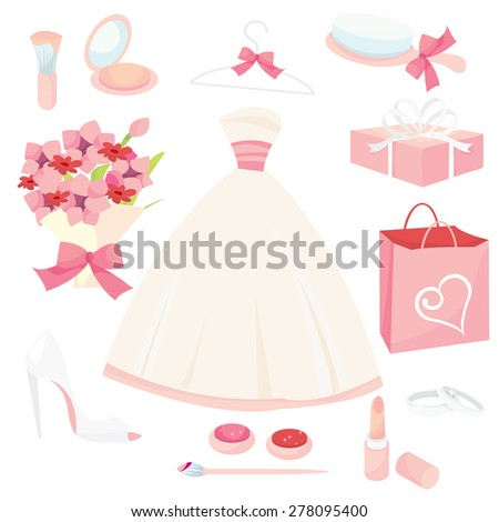 A set of cute pretty bridal icons vector illustration set.