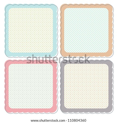 A set of cute retro icons or frames in pastel colours. These can be used as icons, stickers, labels etc - stock vector