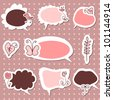 A set of cute speech bubbles stickers - stock vector