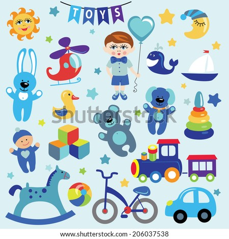 A set of cute toys icons for little Baby.Cartoon Baby boy with a balloon in the shape of a heart.Vector design elements.For website,invitations, magazines. For print and the web. - stock vector