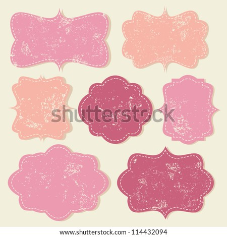 A set of cute vintage labels in pastel colors. - stock vector