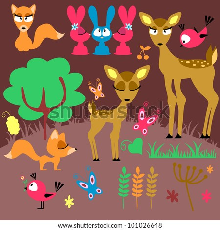 A set of cute wild animals - stock vector