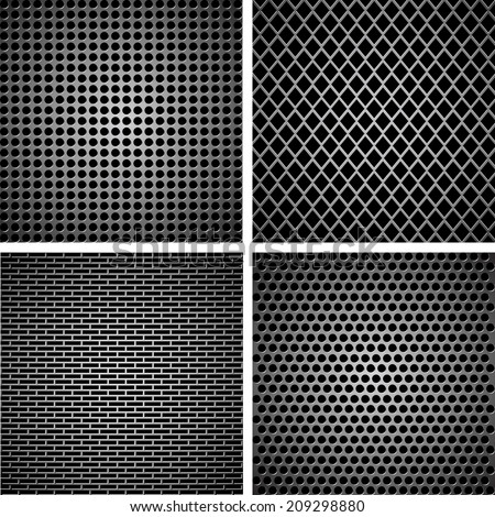 A set of dark metallic grille for your design - stock vector