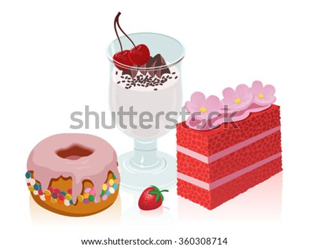 A set of delicious sweet cakes for dessert on the holiday - stock vector
