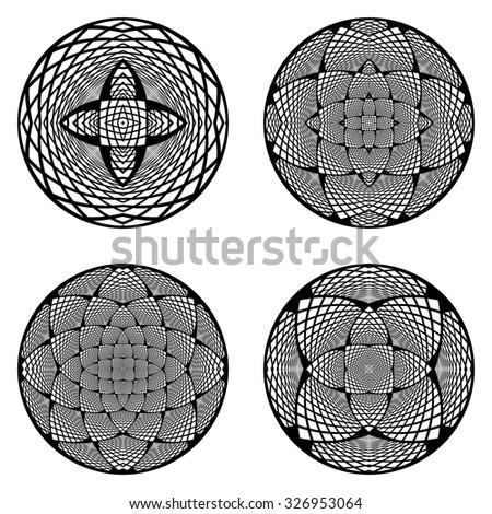 A set of design circle elements. Abstract monochrome decorative backdrop. Vector art. No gradient - stock vector