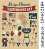 A set of design elements for Independence Day. - stock photo