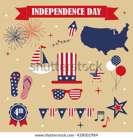 A set of design elements for Independence Day - stock vector