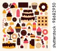 A set of dessert icons in brown, pink and orange. - stock vector