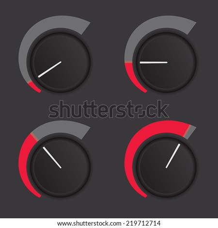 A set of dials at low to high levels. - stock vector