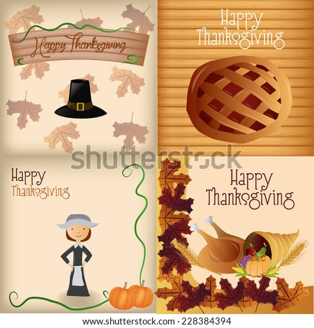 a set of different backgrounds with different elements and text for thanksgiving