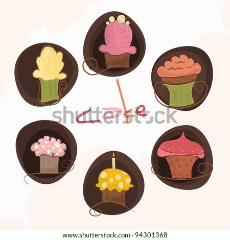 A set of 6 different cakes - stock vector