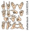 A set of 15 different cartoon hands in various poses. Eps 10 Vector. - stock photo