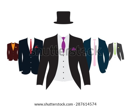 a set of different colored suits and ties - stock vector