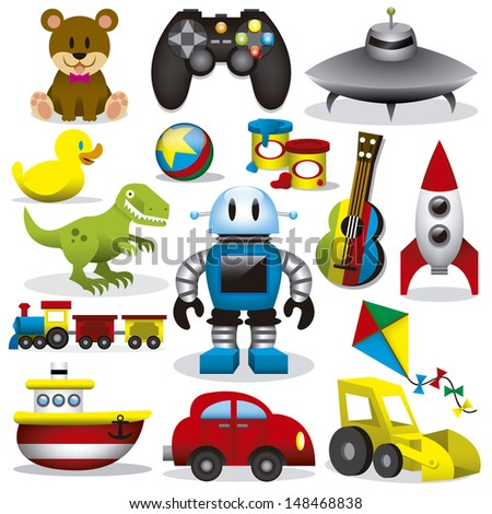 A set of different cute vector toys - stock vector