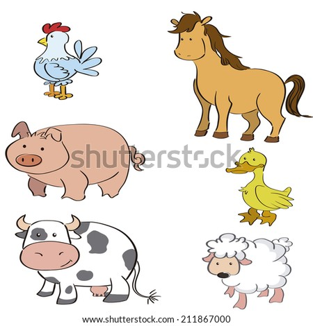 a set of different farm animals on a white background - stock vector