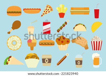 a set of different fast foods on a blue background