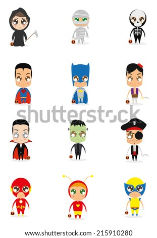 a set of different halloween costumes on a white background - stock vector