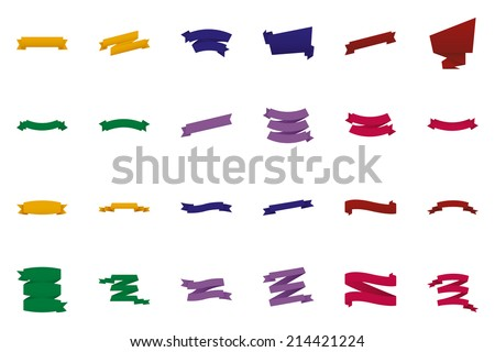 a set of different ribbons on a white background