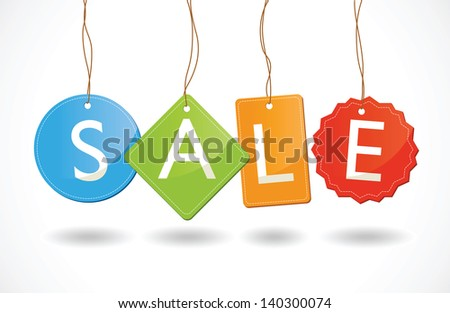 a set of different shaped sale tags