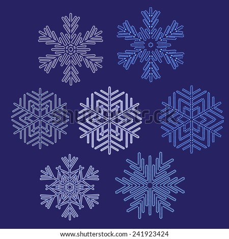 A set of 7 different snowflakes with pattern brush rays.