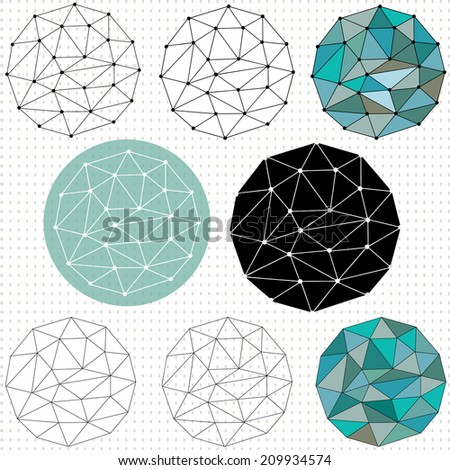 A set of different versions and styles of a polygonal circle pattern - stock vector