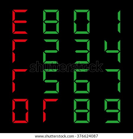 A set of digital numbers on a black background, vector illustration.