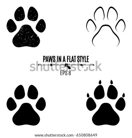 set dogs paws black traces different stock vector 650808649 rh shutterstock com dog paw vector graphic dog paw vector art
