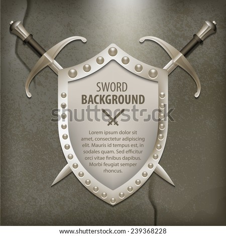 A set of double-edged swords medieval shield - stock vector