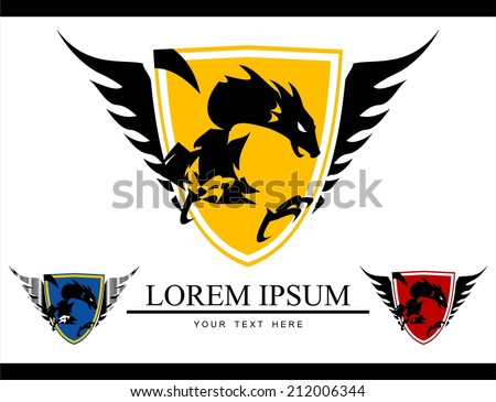 a set of Dragon on the winged shield. Attacking dragon on the winged shield. Dragon mascot.  - stock vector