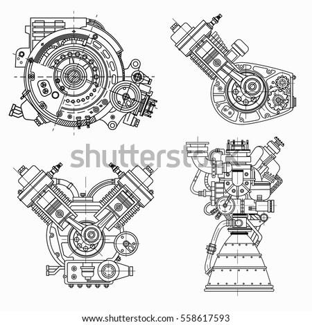Set Drawings Engines Motor Vehicle Internal Stock Vector 558617593 ...