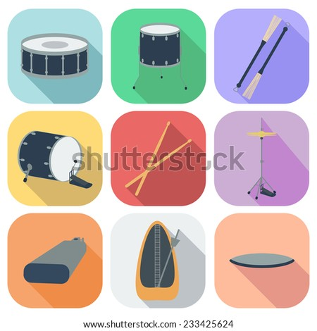A set of drum icons. Flat design. Shadow. vector illustration - stock vector
