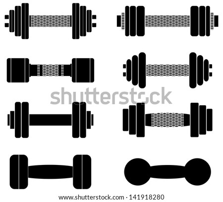 A set of dumbbells isolated on white background, fully editable, nets on handles easily removed in vector programs - stock vector