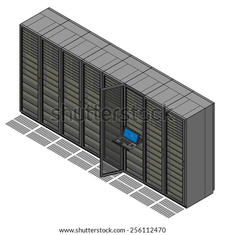 A set of eight server racks / cabinets and ventilated floor tiles. One cabinet is opened with a keyboard and screen console.  - stock vector