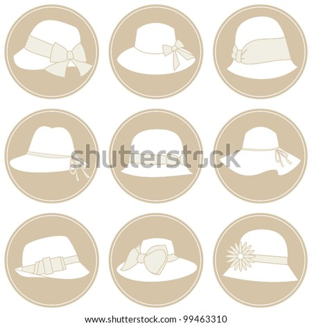 A set of 9 elegant female hats icons in white and beige. - stock vector