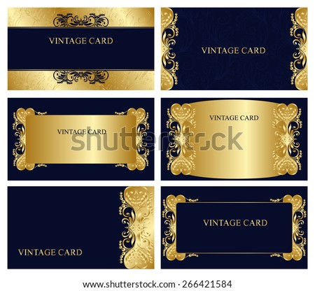 A set of elegant templates with floral elements for cards, invitations, postcards. Color - gold and blue. Vector. - stock vector