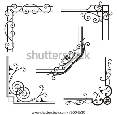 A set of exquisite corner ornamental designs. - stock vector