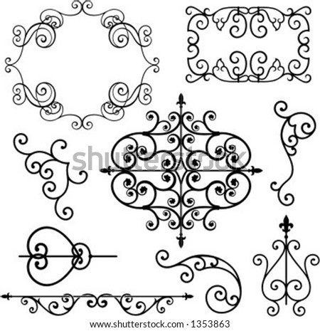 A set of 9 exquisitive and very clean ornamental designs. - stock vector