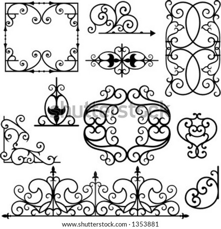 A set of 10 exquisitive and very clean ornamental designs. - stock vector