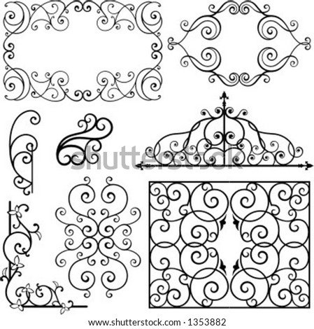 A set of 8 exquisitive and very clean ornamental designs. - stock vector