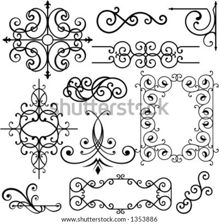 A set of 11 exquisitive and very clean ornamental designs. - stock vector