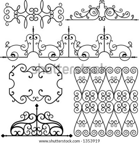A set of 6 exquisitive and very clean ornamental designs. - stock vector