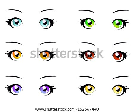 A set of eyes in manga style, isolated on white, eps10 vector format - stock vector