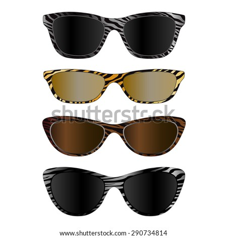 A set of fashionable glasses. Isolated on white background. Vector illustration