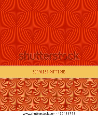 a set of 2 feathers or fish scales japanese style seamless patterns, in red - stock vector