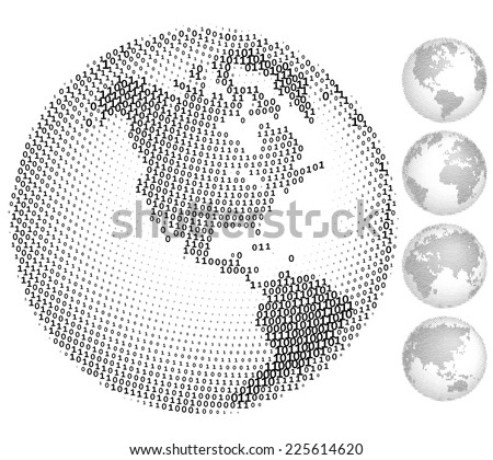 A set of five globes consisting of binary codes. Eps8. CMYK. Organized by layers. Global color. Gradients free. - stock vector