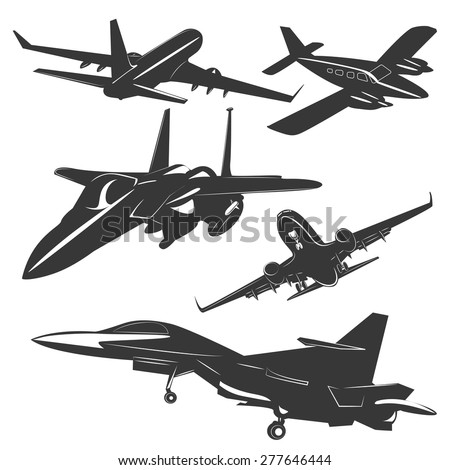 A set of five passenger and military aircraft monochrome, in different positions. Vector illustration - stock vector