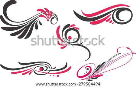 a set of five pinstripe-style decorative ornaments - stock vector