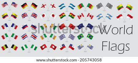 a set of flags in a grey background - stock vector