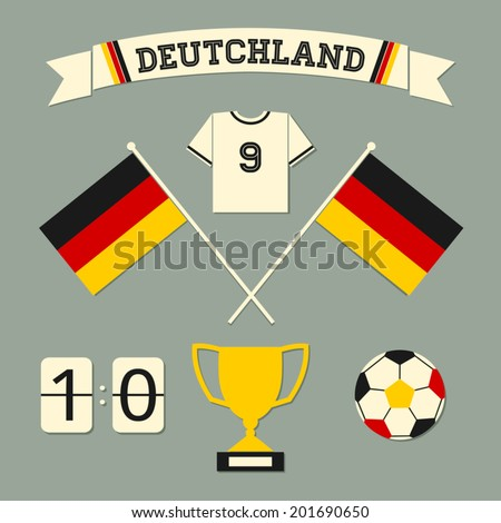 A set of flat design Germany football icons and symbols in black, red and yellow. - stock vector
