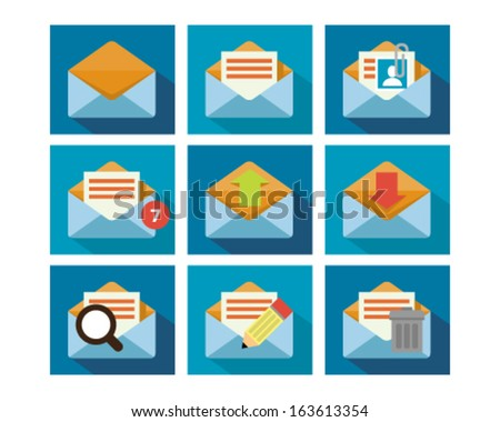A set of flat icon design of mailing technology with multiple functions. - stock vector